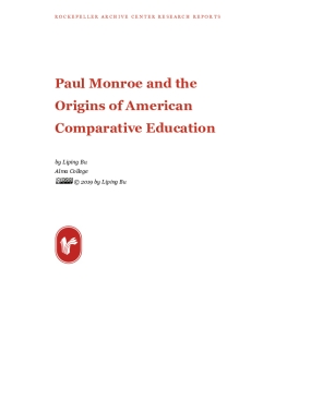 Paul Monroe and the Origins of American Comparative Education