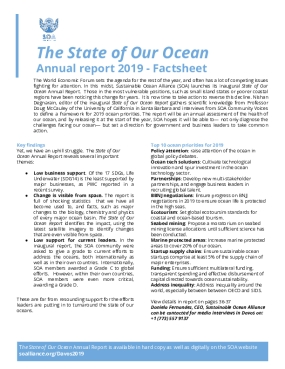 The State of Our Ocean: Annual Report 2019 - Factsheet