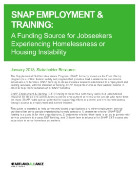 Supplemental Nutrition Assistance Program (SNAP) Employment & Training: A funding source for jobseekers experiencing homelessness or housing instability